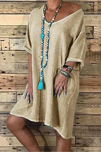 Casual Loose Solid Color Cotton And Linen Shift Dress