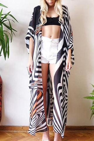 Black And White Stripe Printed Sunscreen Cardigan