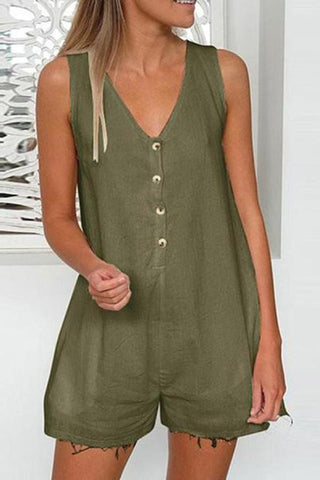 Sexy Solid Color V-Neck Sleeveless Jumpsuit