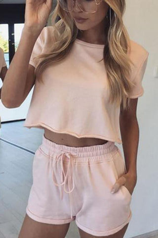 Solid Color Short-Sleeved Top Casual Shorts Suit