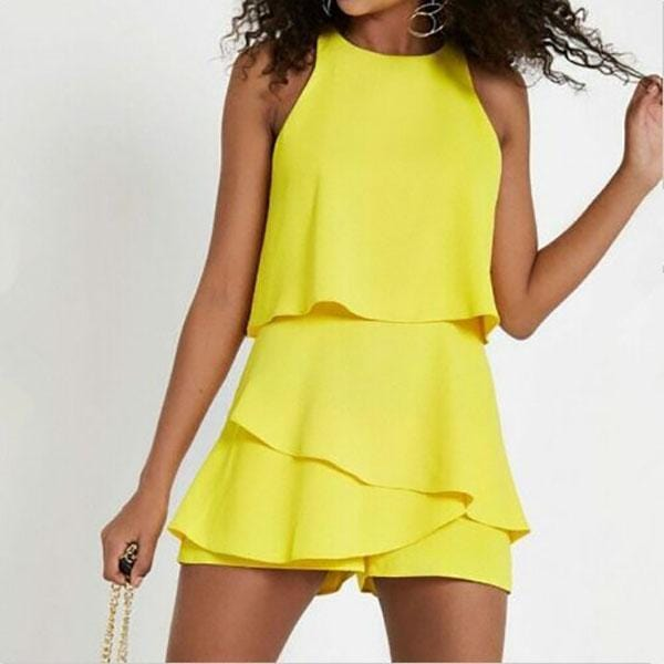 Solid Color Vest Shorts Fashion Casual Suit