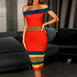 Commuting Boat Neck Off-Shoulder Bare Back Contrast Color Dress