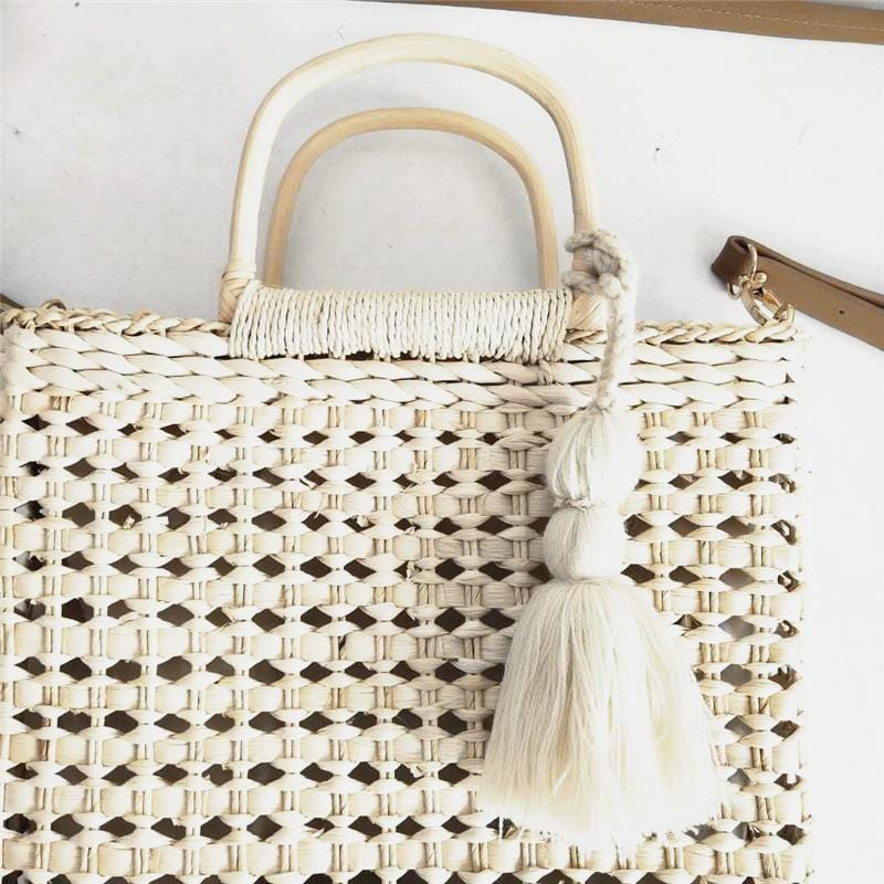 Hand-Woven Bag Tassel Spike Hollow New Rattan Handbag