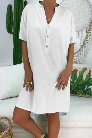 Sexy Solid Color V-Neck Casual Short Sleeve Dress