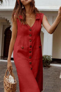 Sexy Solid Color V-Neck Lapels Sleeveless Dress