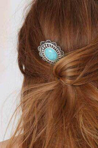 Vintage Sapphire Hair Comb Turquoise Sun Flower Hairpin