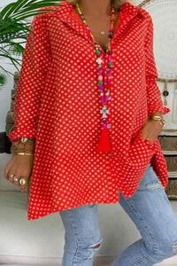 Casual Turndown Collar Polka Dot Long Sleeve Blouse