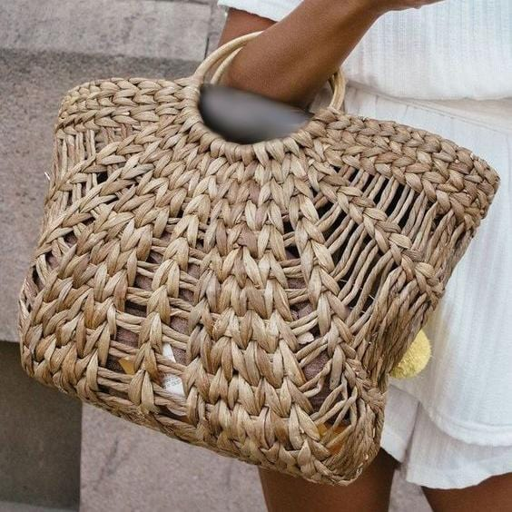 Vintage Casual Straw Woven Bag Half Moon Shape Hollow Handbag