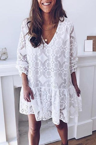 Casual V Neck Lacework Long Sleeve Pure Colour Dress