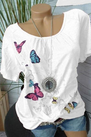 Round Neck Printed Short Sleeve Blouse