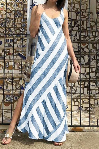 Casual Round Neck Stripe Splicing Sleeveless Dress