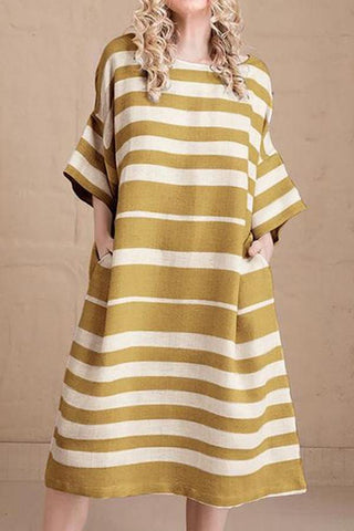 Casual Round Neck Stripe Loose Contrast Color Dress