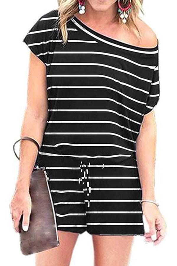 Round-Necked Short-Sleeved Striped Print Jumpsuits
