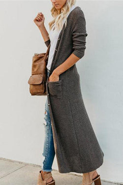 New solid color button big pocket casual long style cardigan coat