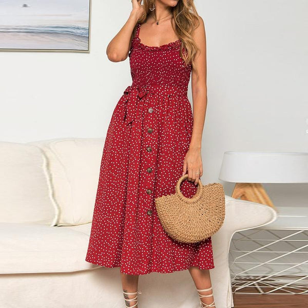 Fashion Sling Wave Point Single-Breasted Dress