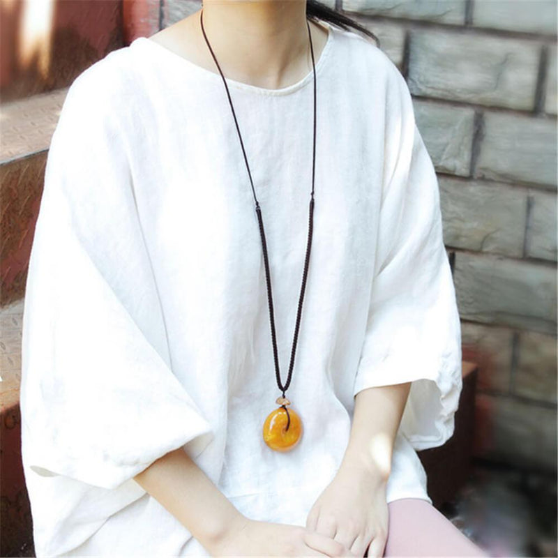 Vintage Imitation   Beeswax Pendant Long Necklace