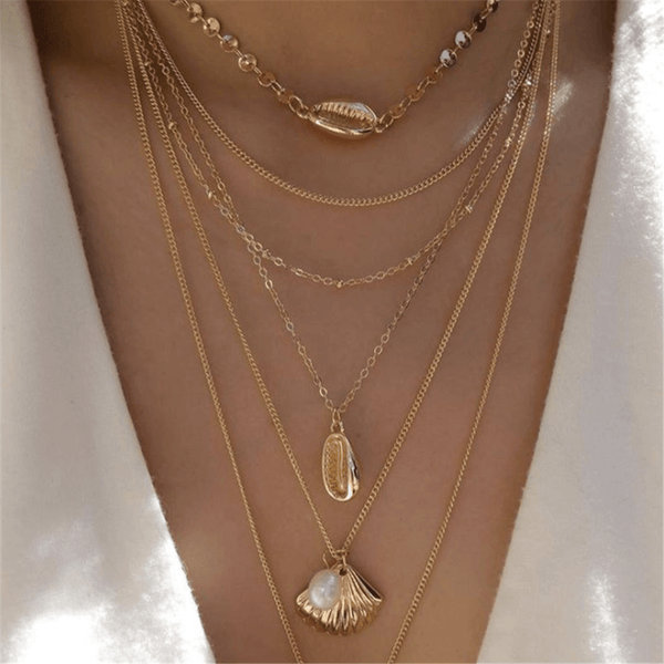 Fashion Simple Alloy   Shell Pendant Multi-Layer Necklace
