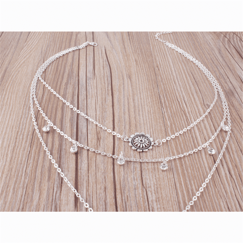 Fashion Retro Hollow   Moon Multi-Layer Necklace