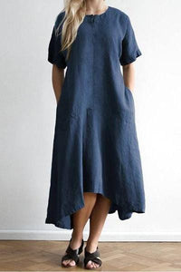 Cotton And Linen Pocket Casual Dress