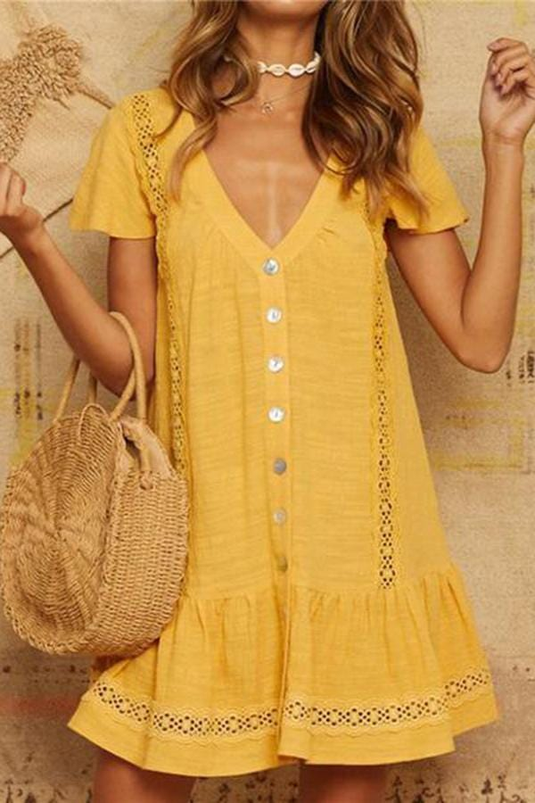 Fashion V Collar Hollow Buttons Vacation Mini Dresses