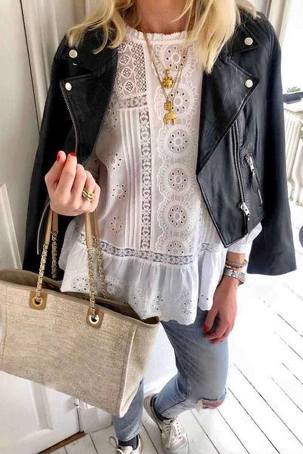 Fashion Round Neck Pure Color Embroidery Hollow Out T-Shirt