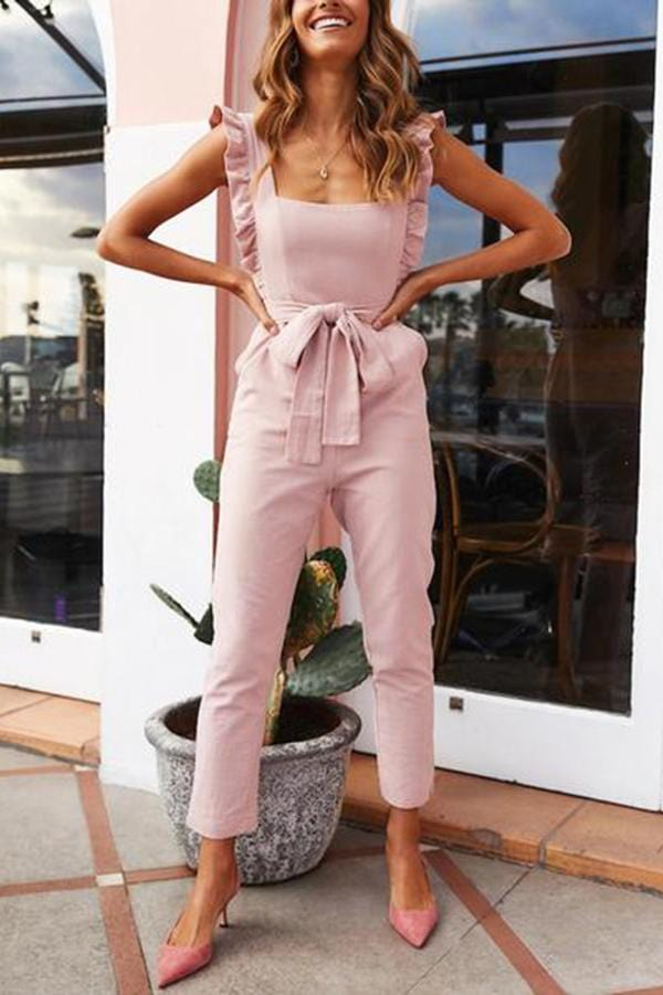 Casual Belted Sleeveless Square-Cut Collar Ruffled Jumpsuit