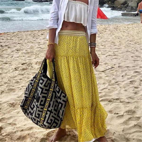 Fashion Wave Point Printed Vacation Half Length Skirt