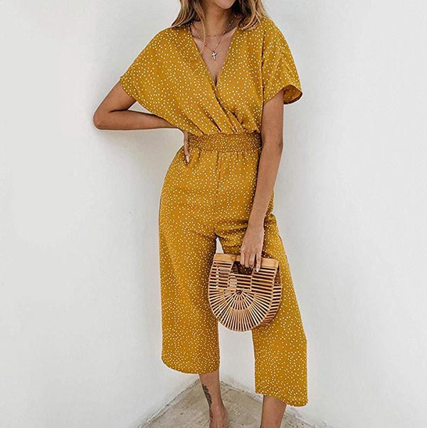 Loose Casual V Collar Spot Printing Jumpsuits