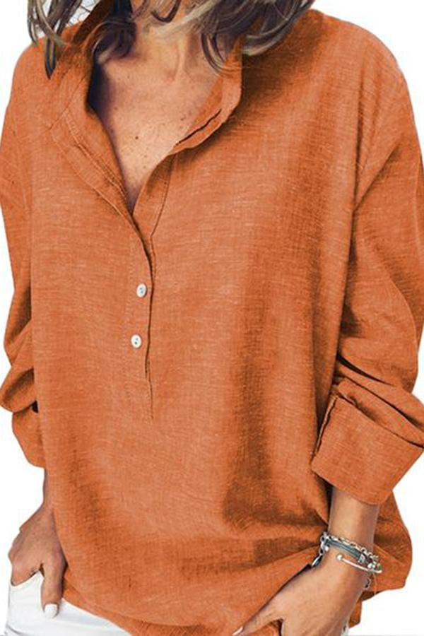 Pure Color Casual Fashion Long-Sleeved Shirt