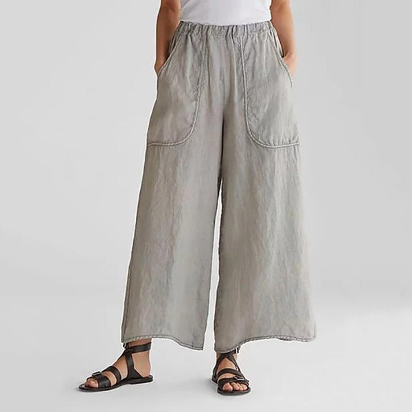 Solid Color Casual Pocket Loose Broad Leg Trousers