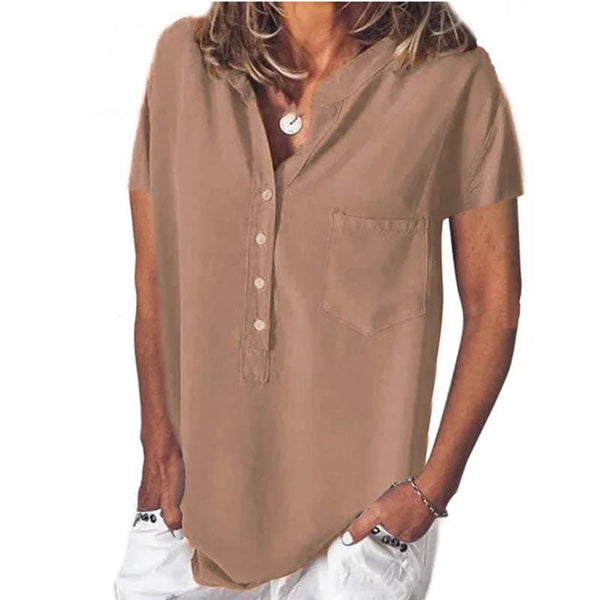 Casual Solid Color Short Sleeve V Collar Loose Shirt