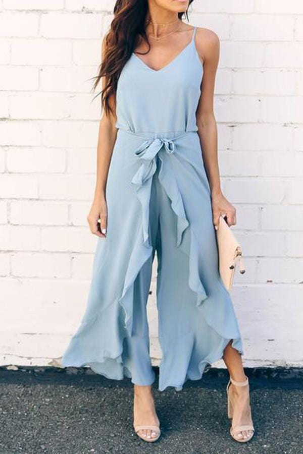 Casual Irregular V Neck Belted Ruffled Sleeveless Jumpsuit