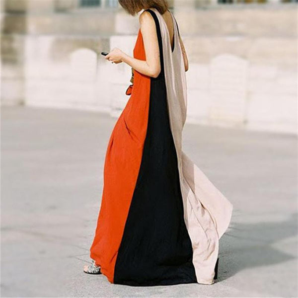 Women Sleeveless Splicing Color Maxi Dresses
