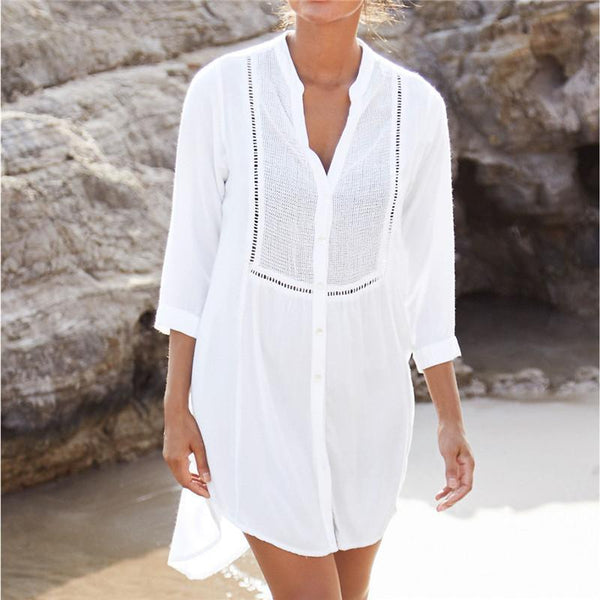 Fashion V Collar Irregular Hollow Out Vacation Dress