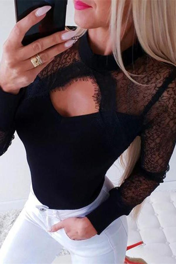 Sexy Hollow Lace Stitched Long Sleeve T Shirt