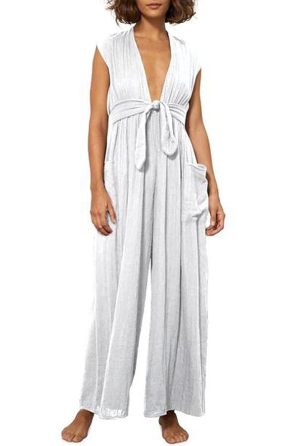 Women's Pure Color V Neck Sleeveless Jumpsuit