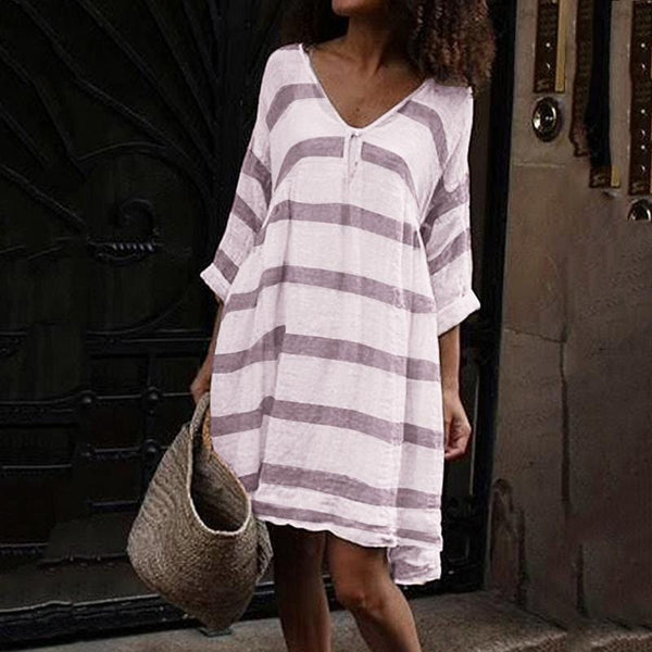 Round Collar Stripe Print Long Sleeve Loose V Collar Dress