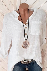 Casual V Neck Pure Color Long Sleeve Shirt