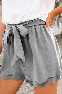 Casual Belted Pure Color Shorts