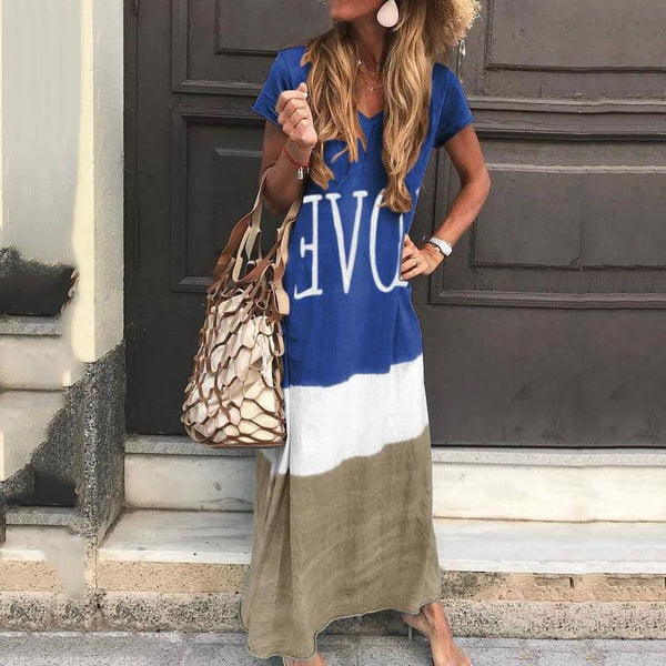 Casual V Neck Short Sleeve Printed Colour Loose Dress