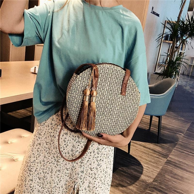 Korean Style Fashion Tassels Straw Shoulder Bag Clutch Bag