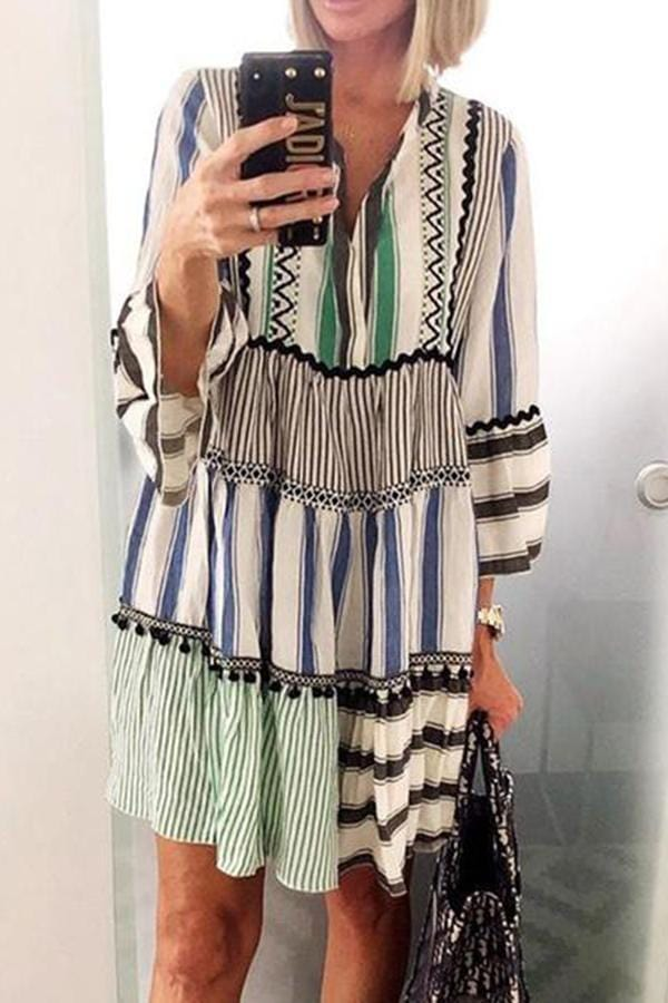 Casual V-Neck Striped Patched Flare Sleeve Dresses