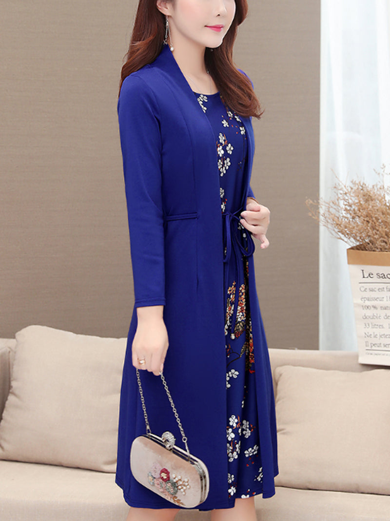 Casual Long Sleeves Ties Dress