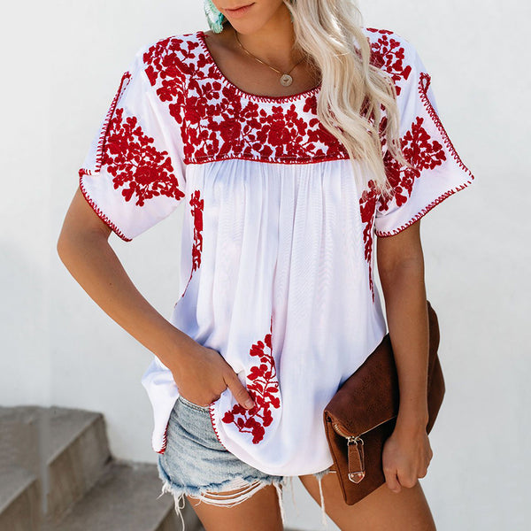 Women's Ethnic Embroidery Pleated Top