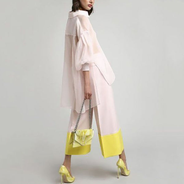 Casual Fold Collar Collar Sleeves Pure Colour Jumpsuit Suit