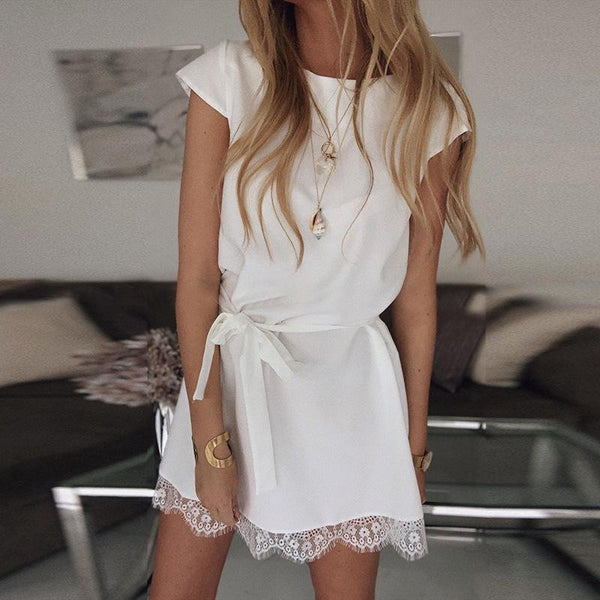 Casual Round Neck Short Sleeve Lace Stitching Dresses