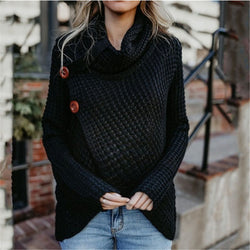 Maternity Long Sleeve Pile Collar Button Irregular Sweater