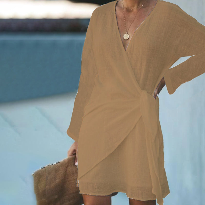 V Neck Front Cross Long Sleeved Casual Dress