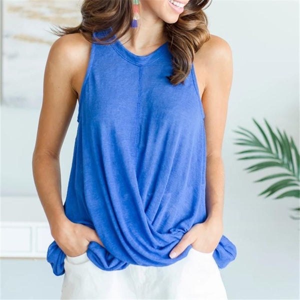 Daily Sleeveless Solid Color T-Shirt