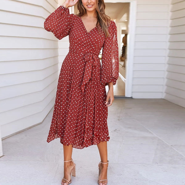 Casual V-Neck Floral Long-Sleeved Dress(Video)